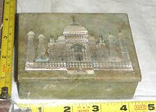 "Vtg Marble/Stone Trinket Box with Inlaid Mother of Pearl Taj Mahal -India ~4X3"""