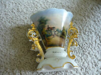 BEAUTIFUL HAND PAINTED ANTIQUE VASE, DOUBLE SCROLLED HANDLES