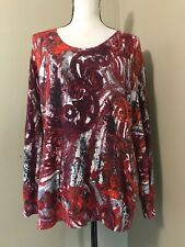 Mayerline Brussels Women's 2XL Burgundy Orange Abstract Print Pullover Sweater