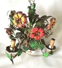Vibrant Vintage 1940's Floral Tole Chandelier