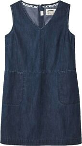 New Women's White Stuff Weekend Cotton Denim V-Neck Pinafore Dress 6/22 RRP: £55