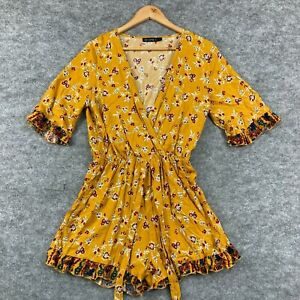 Ishka Womens Playsuit Romper Size Small Yellow Floral Short Sleeve Boho 170.31