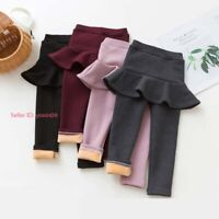Kids Girls Thermal Cotton Leggings Fleece Lined Pant Warm Stretch Skirt Trousers
