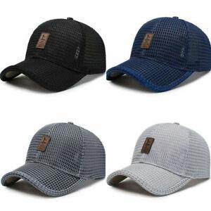 Men'S Hat Mesh Baseball Cap Sun Protection Golf Adjustable Breathable Snapback
