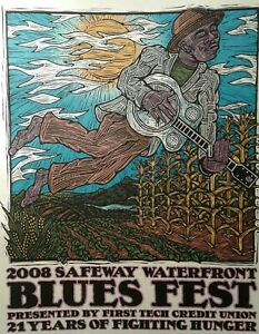 2008 Waterfront Blues Festival Poster Portland OR Gary Houston