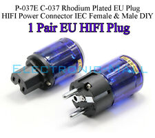 P-037E C-037 Rhodium Plated EU Plug HIFI Power Connector IEC Female & Male DIY