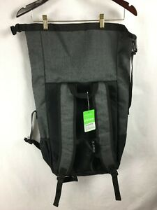NWT GAIAM YOGA On-the-Move Roll Top Backpack Travel Carrier Gray & Black