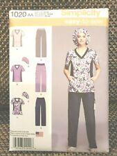 Simplicity 1020 Misses' Women's Scrubs Pants V-Neck Tops Hat Sz 10-18 New Uncut