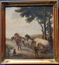 Pferdefuhrwerk, Aquarell, frühes 19 Jhdt, signiert, schön gerahmt