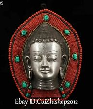 Tibet Coral Gems Silver Shakyamuni Sakyamuni Amitabha Buddha Head Hanging Amulet