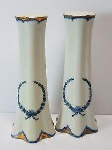 Elegant c1940 Hand Painted Porcelain Salt & Pepper Shakers Signed Mollie Hartwig