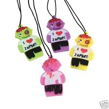 12 Zombie Necklaces Kid Halloween Party Goody Loot Gift Bag Filler Favor Supply