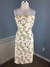 Tibi XS 2 Linen Embroidered Floral Strapless Cocktail Party Dress Anthropologie
