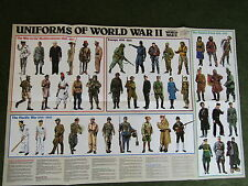 Large vintage WW2 Uniforms poster 1973 print  second world war eastern front etc