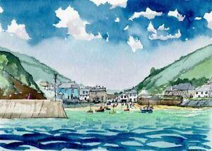 Port Isaac Cornwall Watercolour Artist Doug Myers A5 PRINT 1006
