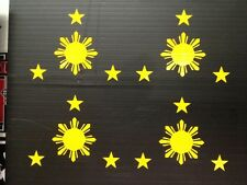 Philippines HARD HAT VINYL DECAL  LAMINATED SIZE 50mm By 40 M M(SET 0F 4)yello