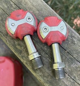 EUC Pair Speedplay Zero Titanium Pedals Red 50mm Spindle