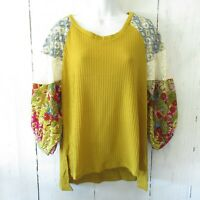 New Umgee Top S Small Gold Waffle Knit Floral Patchwork Mixed Lace Puff Sleeve