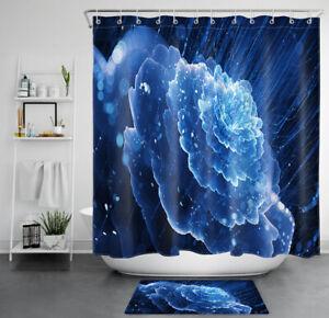 "Blue Crystal Flower Black Background Waterproof Polyester Shower Curtain Set 72"""