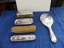 Rare sterling Silver James Dixon & Sons Edwardian Dresser Set c1898-1902 5 Piece
