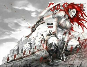 SIGNED w/ COA Red Sonja Black White Red 1 Tyndall Variant Wrap Around Trade NM