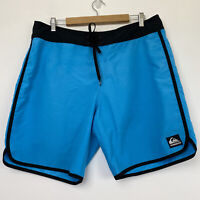Quiksilver Men's Size 36 Board Shorts Surf Beach Swim Blue Black Drawstring EUC