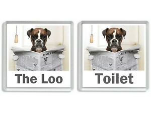 BOXER DOG READING A NEWSPAPER ON THE LOO Novelty Toilet Door Signs