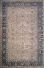 5x8 LA Rugs Beige Bordered Curves Floral Area Rug E378A-SOF74 - Aprx 5' x 8'