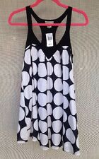 Blue Plate Sleeveless Dress, Black And White Polka Dot, Sz M, 100% Cotton, NWT