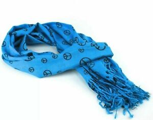 Womens 100% Pashmina Scarf Peace Sign Blue Turquoise Unisex Cashmere Wool