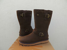 UGG SUTTER BROWN LEATHER/ SHEEPSKIN BUCKLE WINTER BOOTS, US 7/ EUR 38 ~ NEW