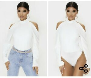 PrettyLittleThing White Woven Cold Shoulder High Neck Bodysuit Size 4 NWT