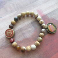 Tribal Sun Focal Bead Stretch Bracelet with Southwestern-Style Charm