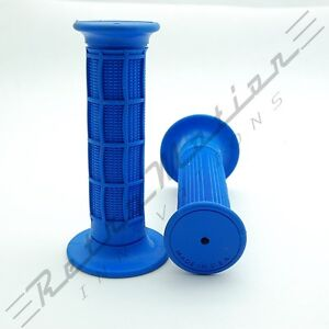 "USA Made - MX Waffle Handlebar Rubber Grips Motocross Dirt Bike 22mm 7/8"" Blue"