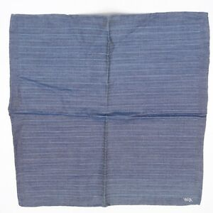 "WRK Mens Cotton Pocket Square Blue Gray Stripe 12"" Hand Rolled Edge Gents Hanky"