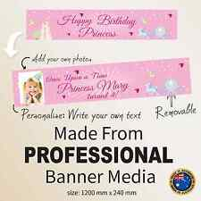 PERSONALISED Girls 1st Birthday CANVAS Party Banner Kids  Pink   Decorations
