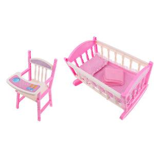 Reborn Doll Bed Crib And High Chair, Cradle Mattress Bedding Set, Dolls
