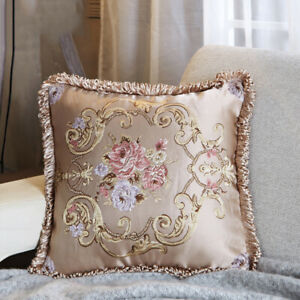 2X Pillow Cases Cover Cushions Sofa Jacquard Floral Embroidery Tassel Decor