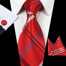 Rojo Baile de Graduación Boda Corbata Corbata Set para hombres de moda con bolsillo cuadrado Gemelos