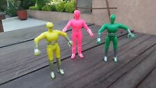 VINTAGE 3 POWER RANGERS: PINK, GREEN &  YELLOW, MEXICAN HARD PLASTIC BOOTLEGS