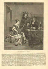 The Guitar Lesson, by Treburg, With Text, Vintage 1876 Antique Art Print