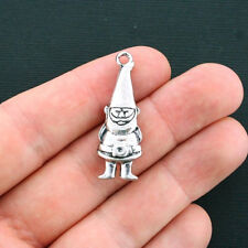 2 Garden Gnome Charms Antique Silver Tone Large Size 2 Sided - SC1362