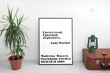 'I Never Read' Poster Andy Warhol   Print A2 Other Sizes Mid Century Modern