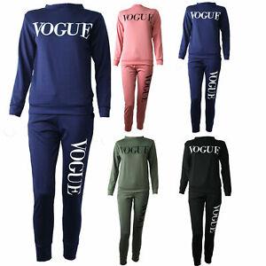 New Ladies  Vogue Print Top Bottoms Lounge wear 2Pcs Co-Ord Fleece Tracksuit Set