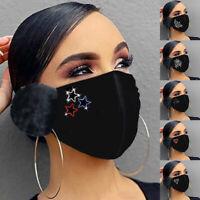 w Weihnachten Mund-Nasen-Maske waschbar Stoffmaske wiederverwendbar Schwarz pd