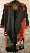 Vtg Suzette International Paris Santa Fe Art to Wear AZTEC Duster Long Coat