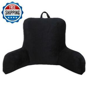 Micro Plush Back Support Rest Pillow Bed Lounger Cushion Arms Home Chair, Black