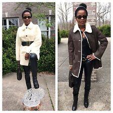 New Designer Michael Kors Reversible white brown Sheared mink fur coat Jacket M