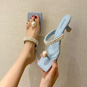 Women Pearls Slippers Fashion Kitten Heels Mules Sandals Summer Flip Flops Shoes