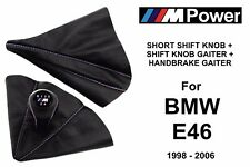 BMW E46 M POWER 5 SPEED SHIFT KNOB + HANDBRAKE + GEAR STICK GAITER BOOT LEATHER